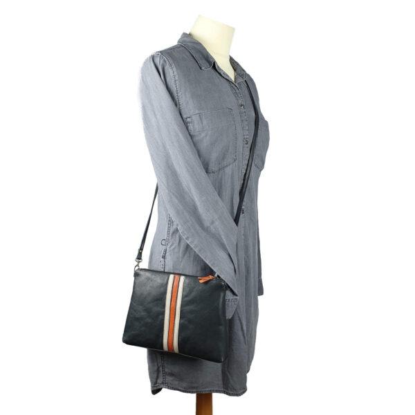 women shoulder bag kate handmade black leather with retro stripes