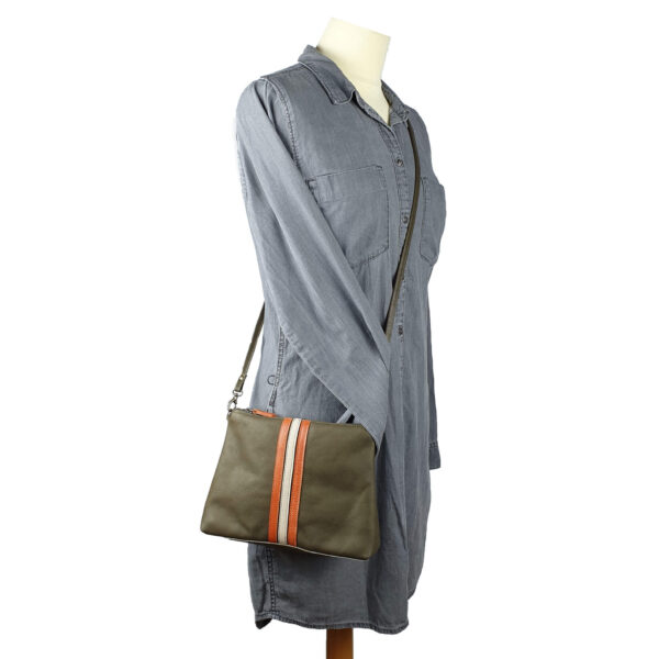 women shoulder bag kate handmade olive leather with retro stripes