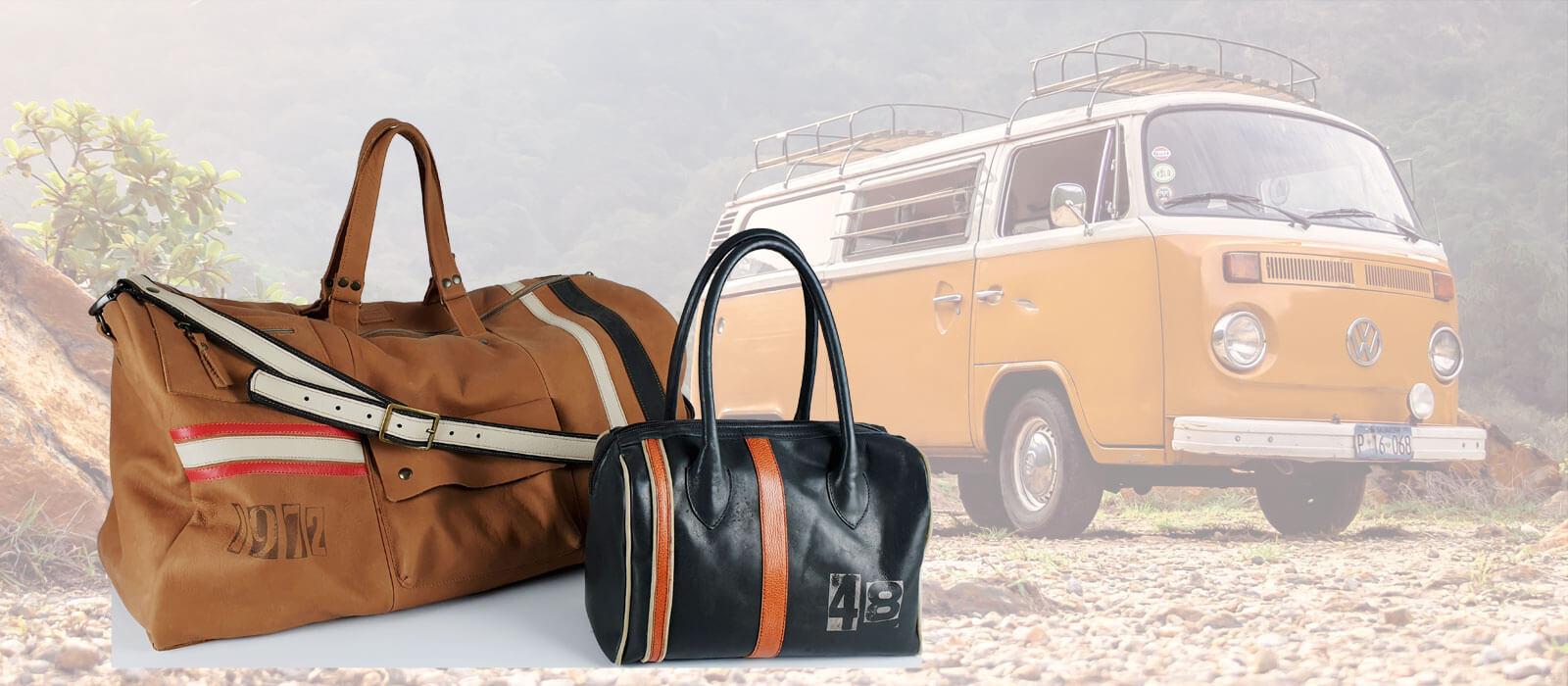 handgemaakte leren tassen met retro stripes en een volkswagen busje van mireille daelman
